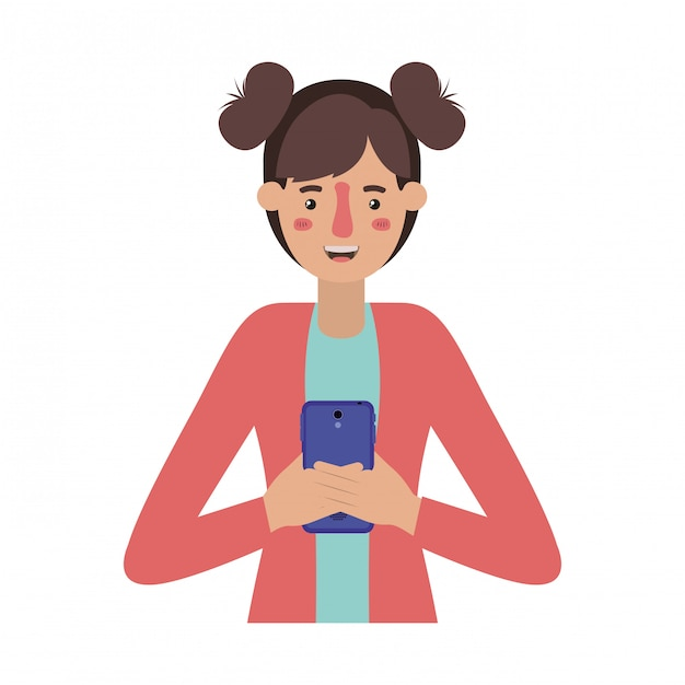 スマートフォンを持つ若い女 Premiumベクター