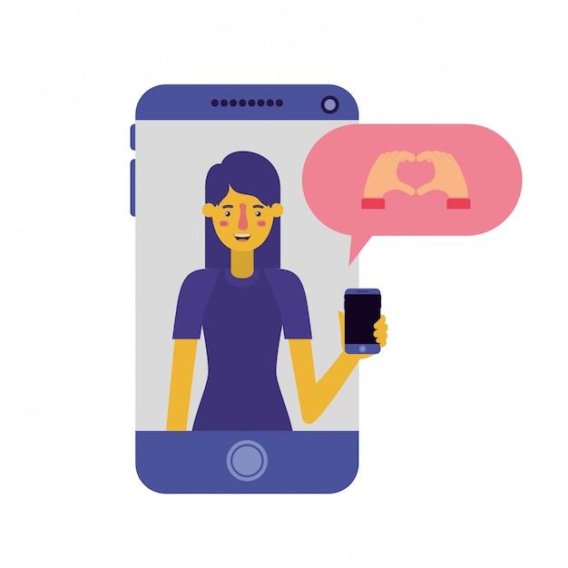 スマートフォンとスピーチの泡を持つ若い女 Premiumベクター