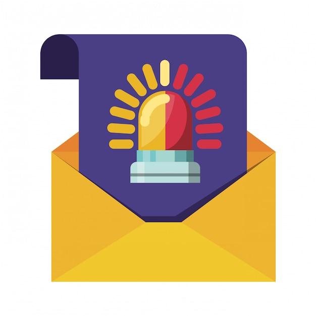 メッセージアラーム分離アイコンで開いている手紙 Premiumベクター