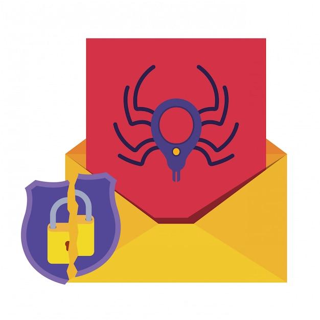 クモと南京錠分離アイコンで開いている手紙 Premiumベクター