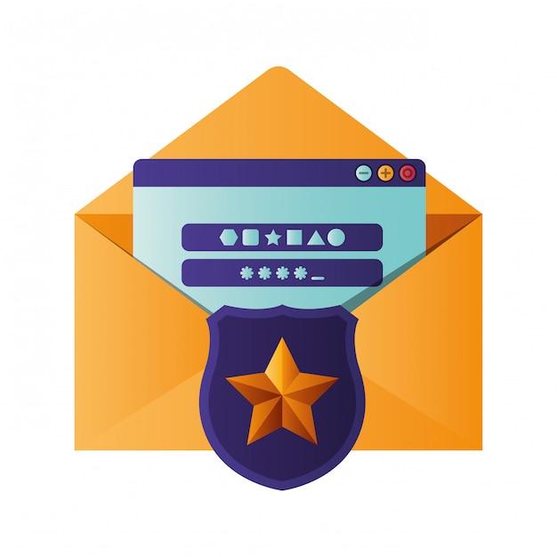 シールドとウィンドウの分離アイコンで開いている手紙 Premiumベクター