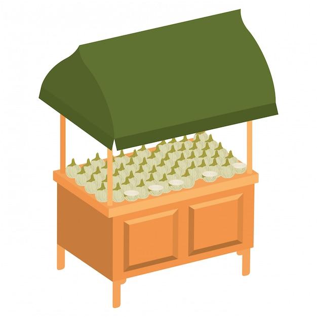 店のキオスクと野菜の分離アイコン Premiumベクター