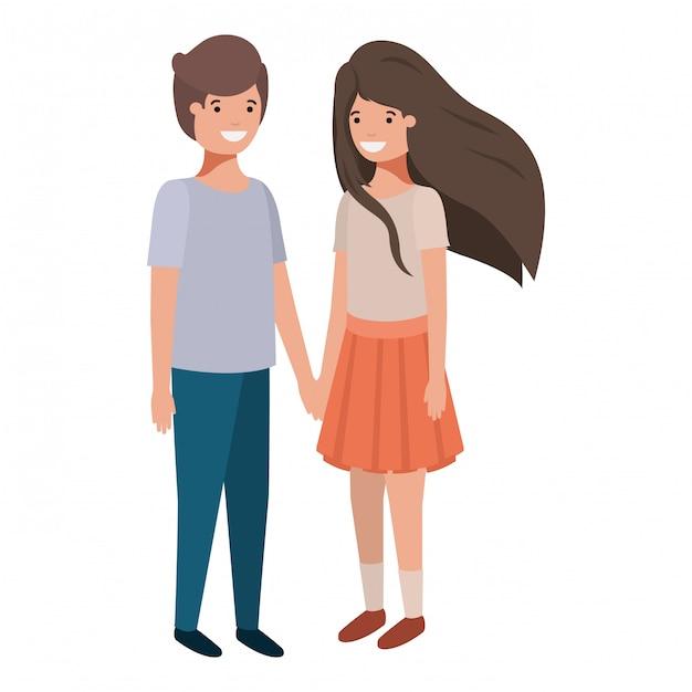 フレンドリーな若者のカップルのキャラクター Premiumベクター