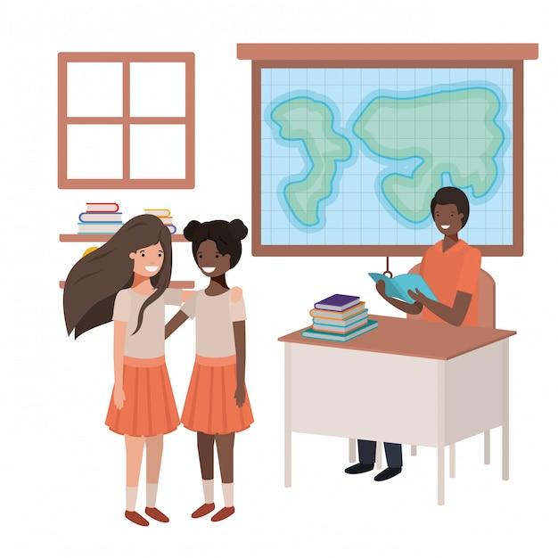生徒と地理クラスの教師黒 Premiumベクター