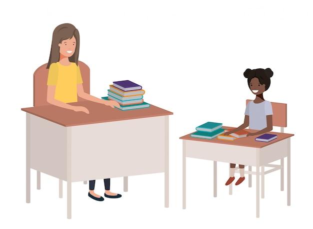学生と教室で女教師 Premiumベクター