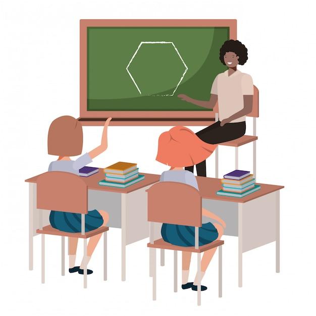 学生のアバターキャラクターと教室の先生 Premiumベクター