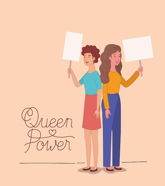 Группа женщин персонажей с феминистским сообщением Premium векторы