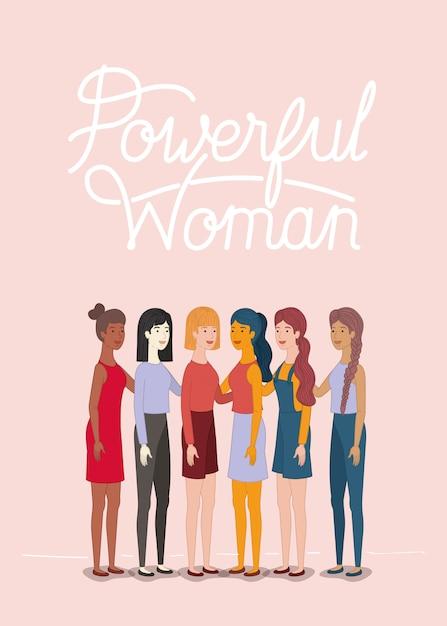 フェミニストメッセージを持つ女性キャラクターのグループ Premiumベクター