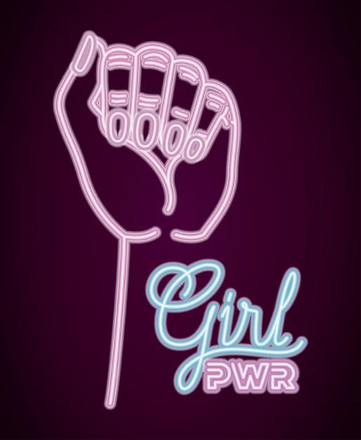 手の拳で女性の日ネオンラベル Premiumベクター