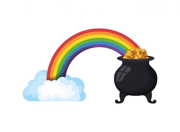 レプラコーン大釜分離アイコンが付いている虹 Premiumベクター