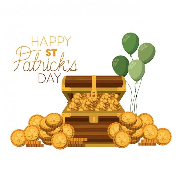День святого патрика, этикетка с монетами Premium векторы