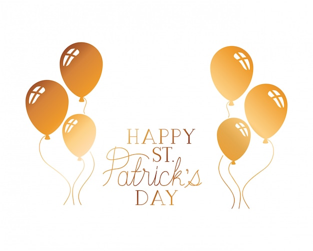 Счастливый день святого патрика, этикетка с воздушными шарами Premium векторы