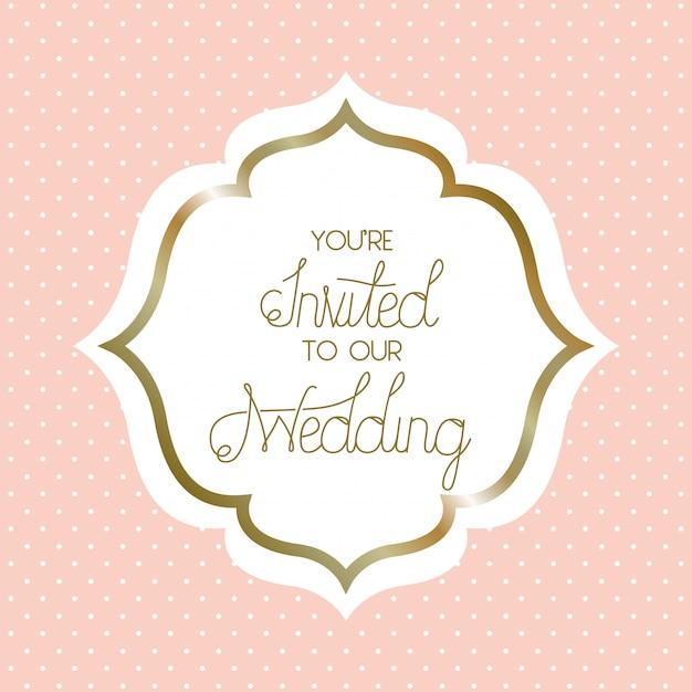 結婚式招待状ビクトリア朝のフレーム Premiumベクター