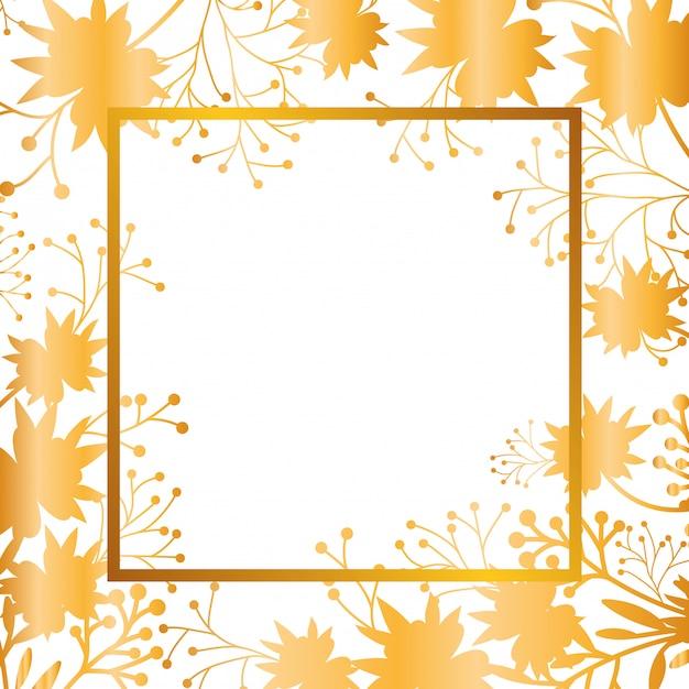 フレーム分離アイコンと葉を持つ花 Premiumベクター