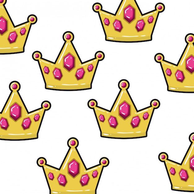 Узор короны золотой поп-арт Premium векторы