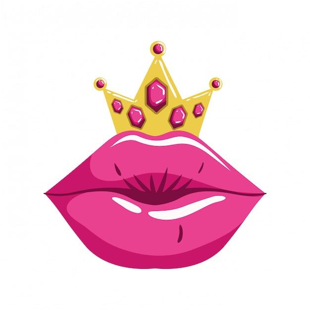 Женские губы поп-арт стиль изолированных значок Premium векторы