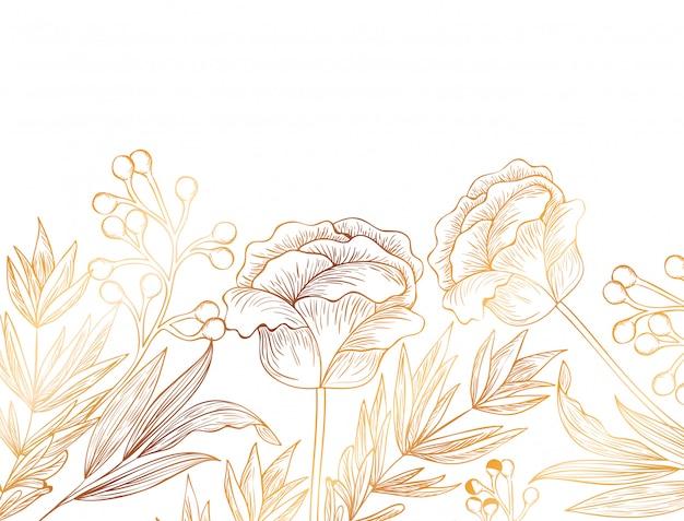 花のパターンと分離アイコンを葉します。 Premiumベクター