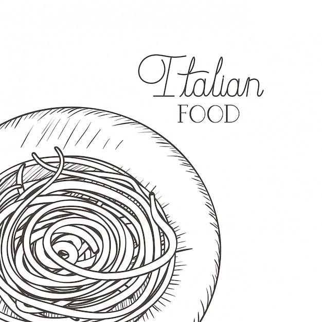 Вкусная паста итальянский изолированных значок Premium векторы
