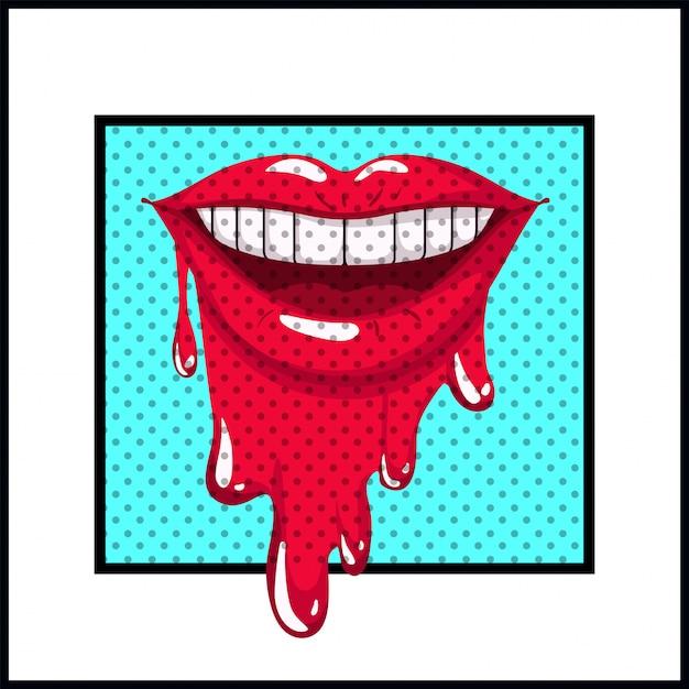 ポップアートのスタイルを滴下女性の口 Premiumベクター