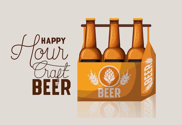 Счастливый час этикетка пива с бутылками в корзине Premium векторы