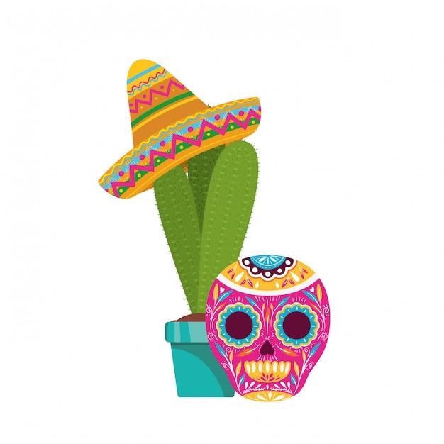 サボテンとメキシコの帽子のアイコンが付いた頭蓋骨 Premiumベクター
