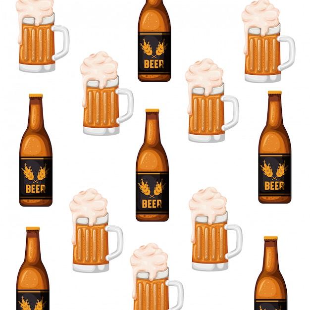 ビールとガラスのアイコンのパターンボトル Premiumベクター