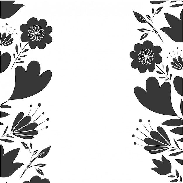 花と葉のアイコンを持つフレーム Premiumベクター