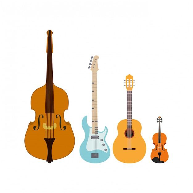 Музыкальные инструменты изолированные Premium векторы