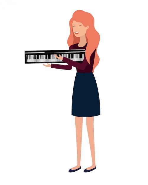 Молодая женщина с характером фортепианной клавиатуры Premium векторы