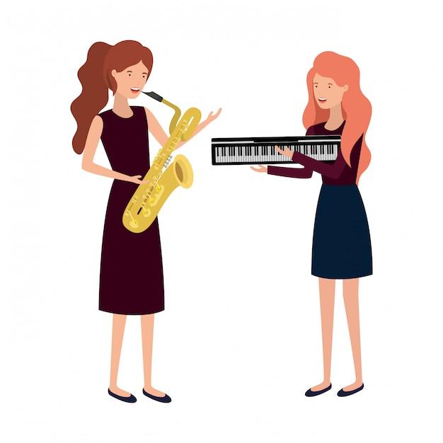 Женщины с характером музыкальных инструментов Premium векторы