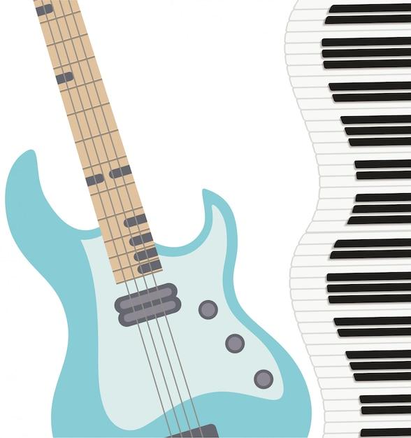 Музыкальный инструмент выкройка электрогитары Premium векторы