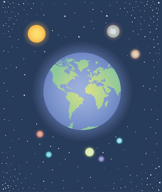 惑星のグループの空間的なアイコン Premiumベクター