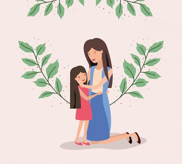 母と娘の母の日カード Premiumベクター