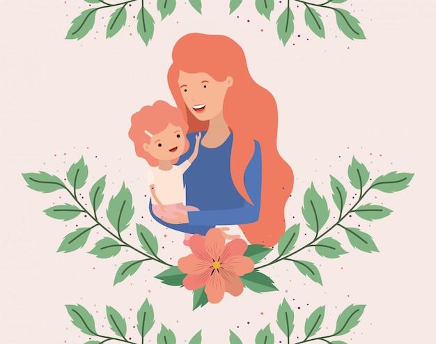 Материнская открытка с короной матери и сына Premium векторы