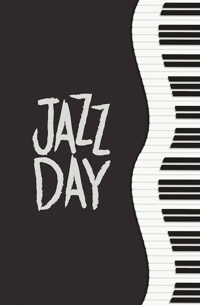 ピアノのキーボードとジャズデーのポスター Premiumベクター