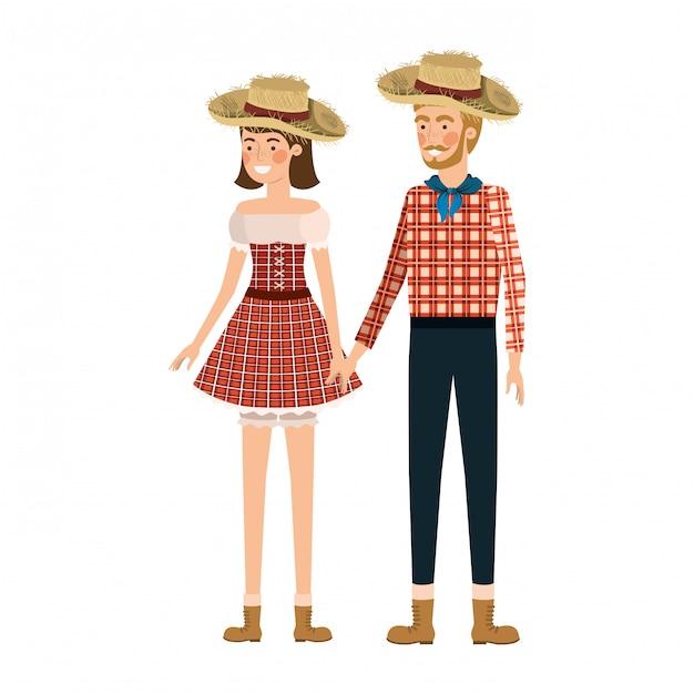 麦わら帽子と話している農民カップル Premiumベクター