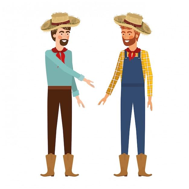 麦わら帽子と話している農民男性 Premiumベクター