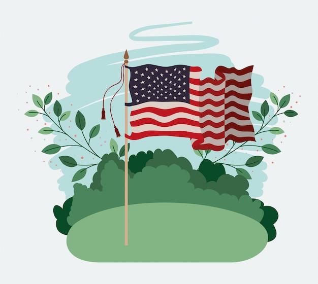 Соединенные штаты америки флаг развевается в поле Premium векторы