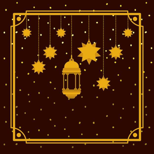 ランプと星がぶら下がっているラマダンカリームゴールデンフレーム Premiumベクター