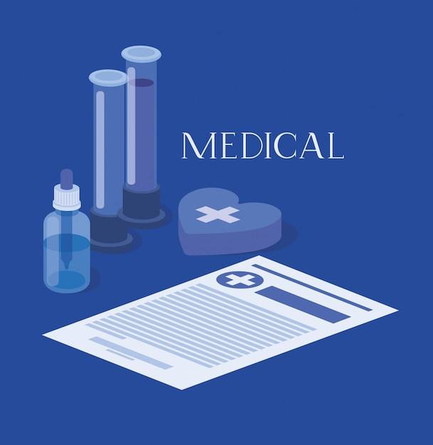 Медицинские трубки тесты лекарств с заказом Premium векторы