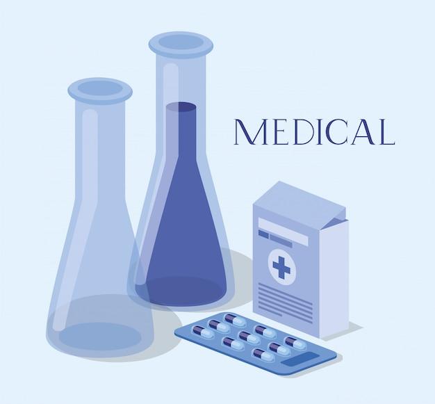 Медицинские трубки тесты лекарств с аптечкой Premium векторы