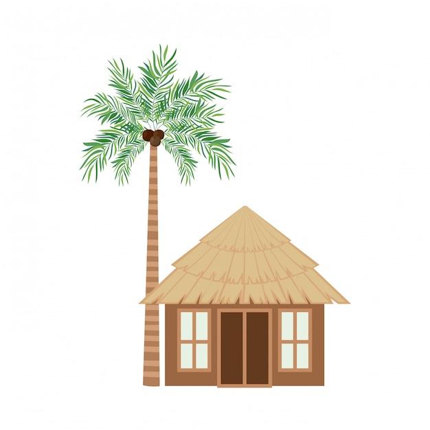ビーチの木の家 無料ベクター