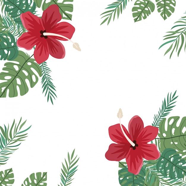 Рамка из цветов и листьев Бесплатные векторы