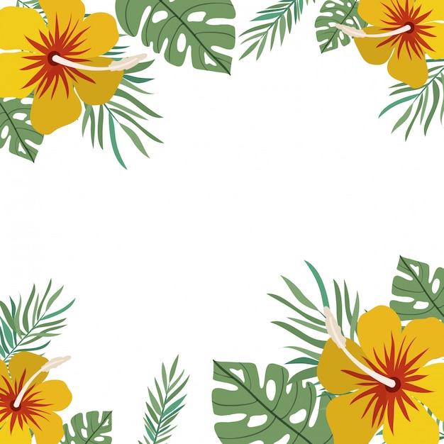 花と葉のフレーム 無料ベクター