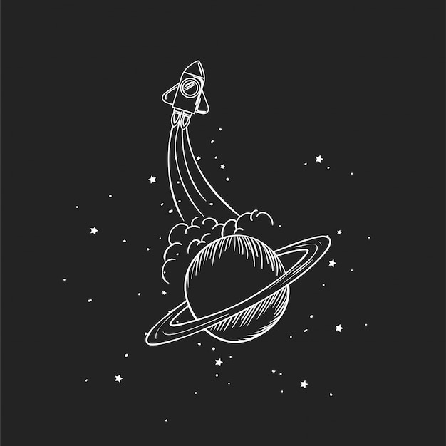 ロケットと惑星を描く 無料ベクター