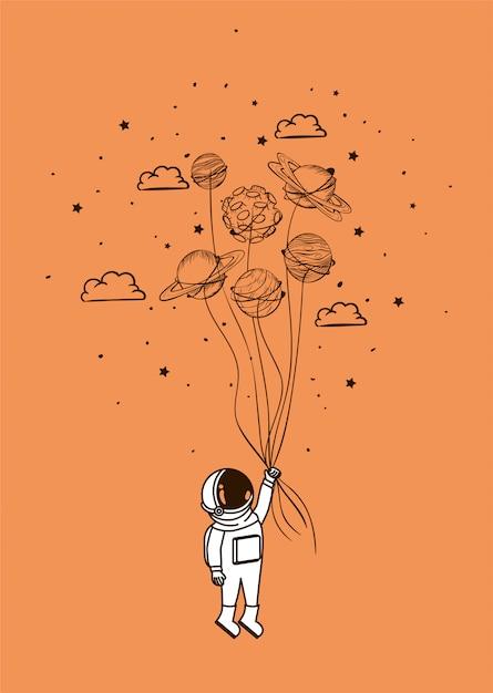 Астронавт рисует с планетами Бесплатные векторы