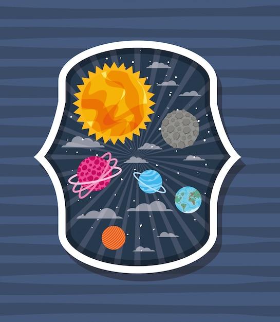 縞模様のラベルの上の惑星 無料ベクター