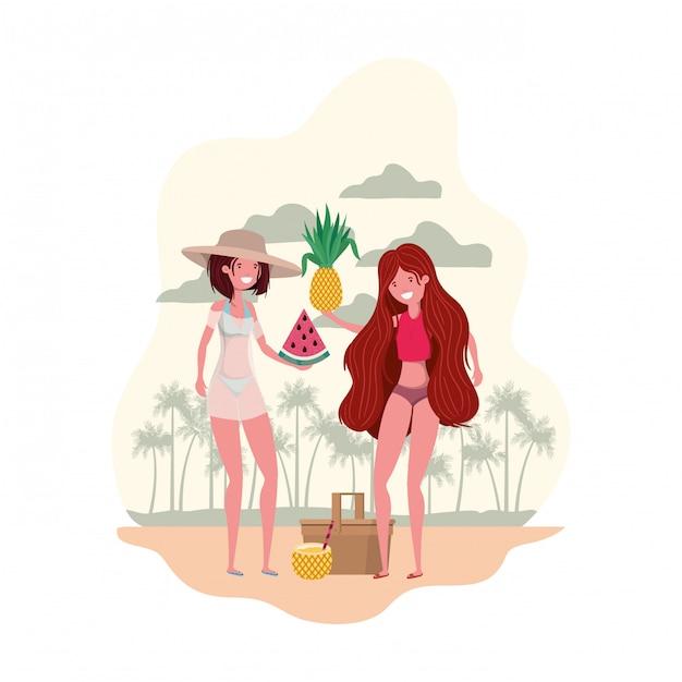 手に水着とトロピカルフルーツを持つ女性 無料ベクター