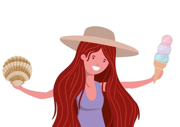 Женщина с купальником и мороженым на руке Бесплатные векторы