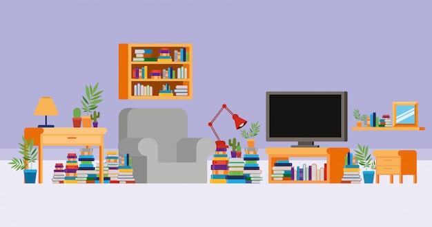 Домашний кабинет с книгами Бесплатные векторы